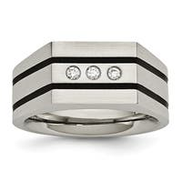 Stainless Steel Brushed Black IP-plated CZs Ring