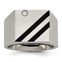 Stainless Steel Brushed Black IP-plated CZ Ring