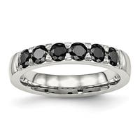 Stainless Steel Polished Black CZ 4.00mm Band