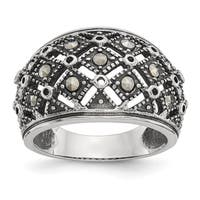 Stainless Steel Polished and Antiqued Marcasite Ring