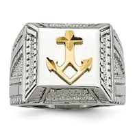 Stainless Steel Polished Yellow IP-plated with Sterling Silver Anchor Ring