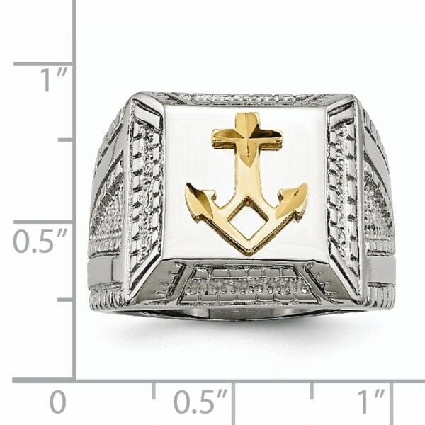 Stainless Steel Themed Ring Polished Antiqued Gold Tone IP-Plated Antiqued Yellow IP-plated Cross Ring