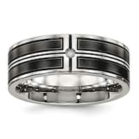 Stainless Steel Brushed and Polished Black IP-plated CZ Band