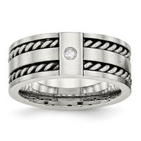 Stainless Steel Antiqued and Brushed with CZ Twisted 9.00mm Band
