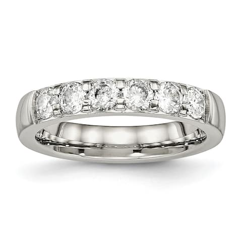Chisel Stainless Steel Polished CZ 4.00mm Band