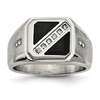 Stainless Steel Satin and Polished with Black Enamel CZ Ring