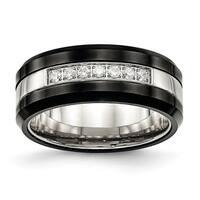 Stainless Steel Polished Black Ceramic CZ Beveled Edge Ring