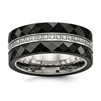 Stainless Steel Polished Faceted Black Ceramic CZ Ring