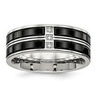 Stainless Steel Polished Black IP-plated CZ Band