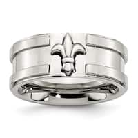 Stainless Steel Fleur De Lis 10mm Brushed and Polished Band