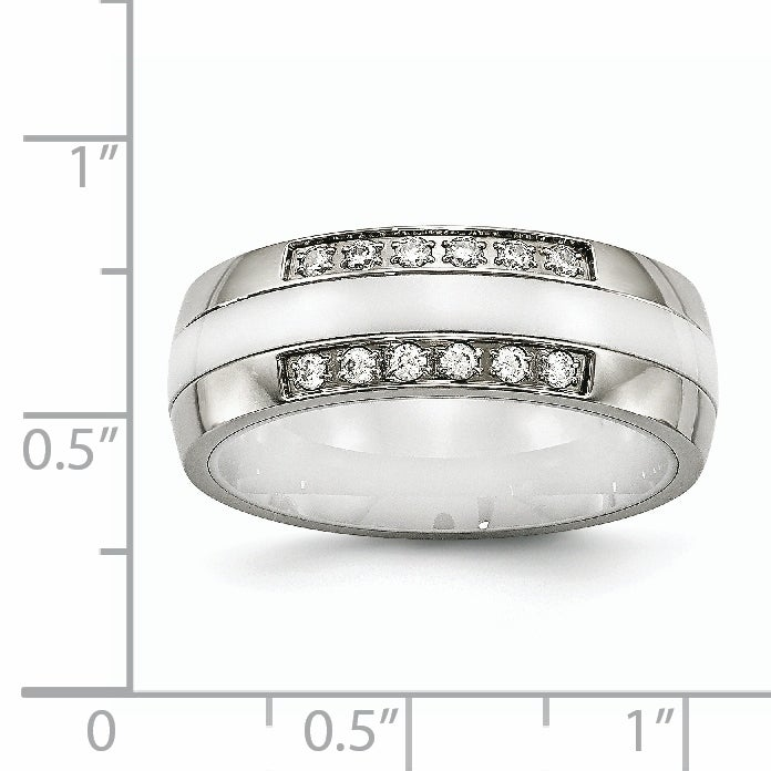 Stainless Steel White CZs Polished Ring