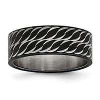 Stainless Steel Polished Black IP-plated Diamond-Cut Ring