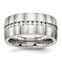 Stainless Steel Brushed and Polished CZ Ring