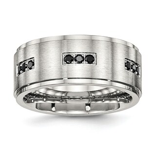 Stainless Steel Brushed and Polished Ridged Edged Black CZ Ring