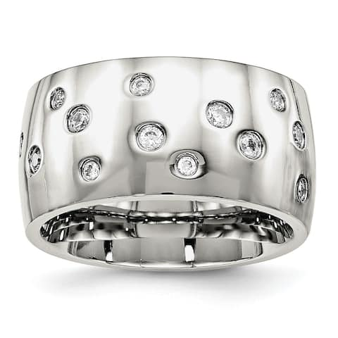 Chisel Stainless Steel Polished CZ Ring