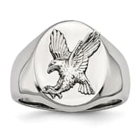 Chisel Stainless Steel Polished with Sterling Silver Rhodium-plated Eagle Ring