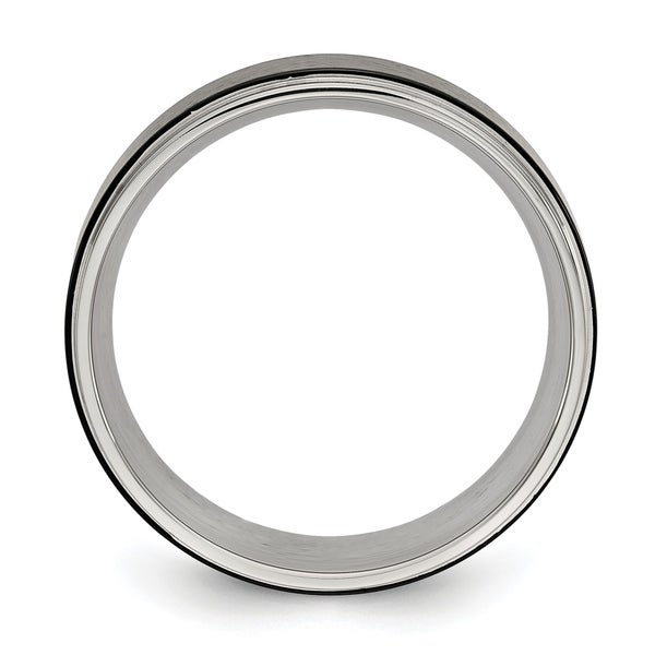 Stainless Steel Polished w//Black IP-plated Brushed Center 8mm Band Size 7 Length Width 8