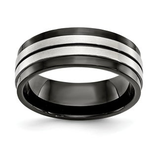 Chisel Stainless Steel Brushed And Polished Black IP Plated 8mm Band