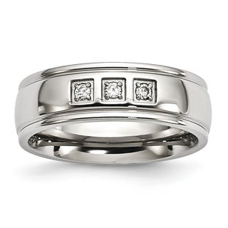 Chisel Stainless Steel Polished With CZ Ring