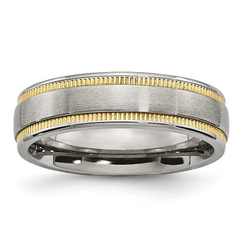 Chisel Stainless Steel Brushed and Polished Yellow IP-plated Band