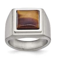 Chisel Stainless Steel Brushed and Polished Tiger's Eye Signet Ring