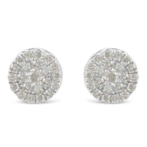 10K White Gold 1ct TDW Diamond Cluster Stud Earrings (I-J, I2-I3)