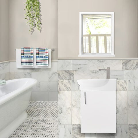 Highpoint Collection Wall Vanity and Mirror Set with Drain & Faucet - White