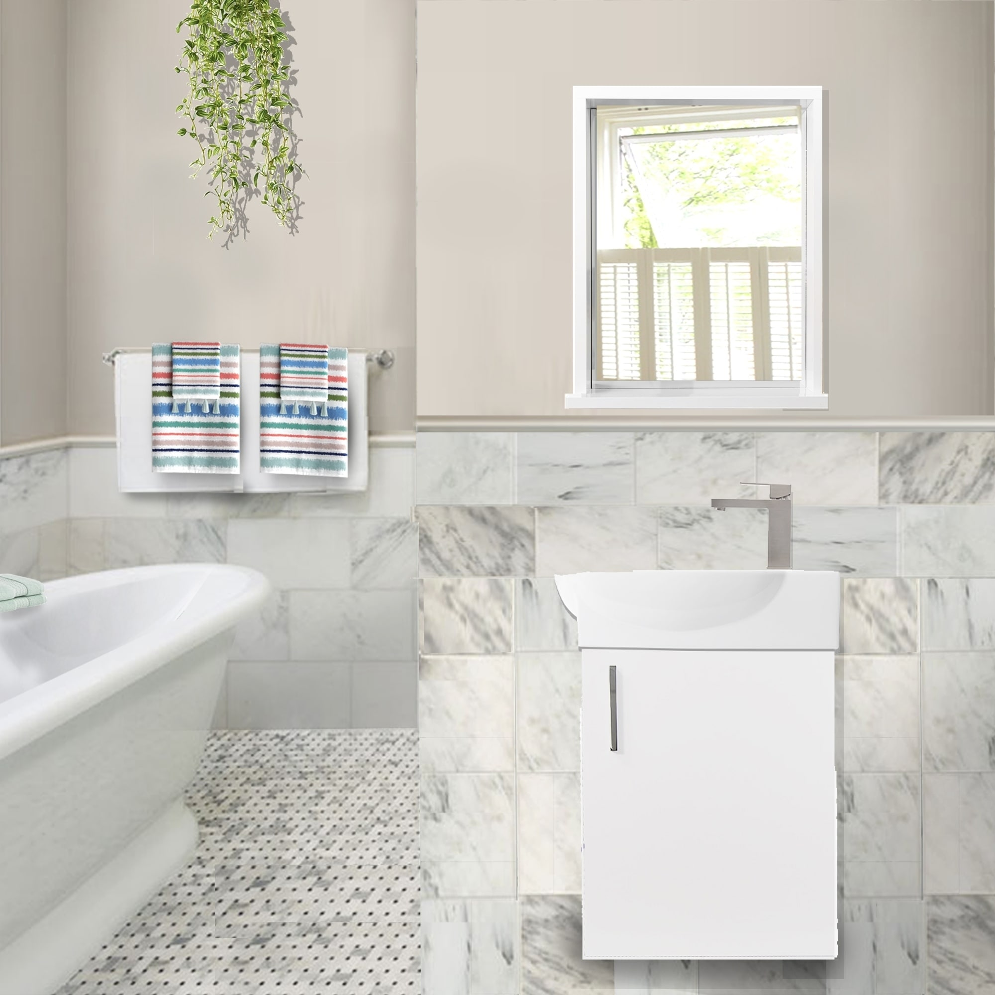 Highpoint Collection Complete Floating Vanity Mirror Faucet Set White Overstock 23505011