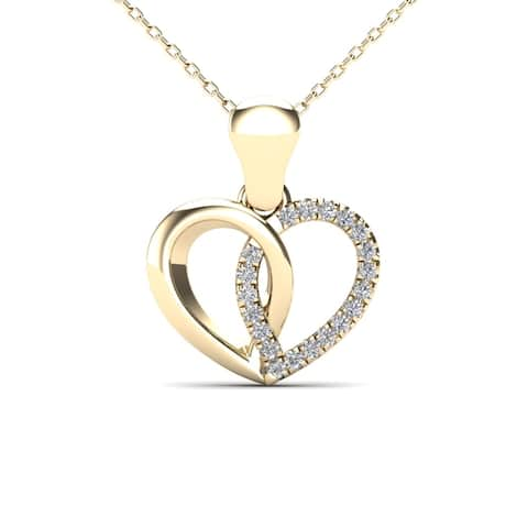 AALILLY 10k Yellow Gold Diamond Accent Heart Pendant Necklace (H-I, I1-I2)
