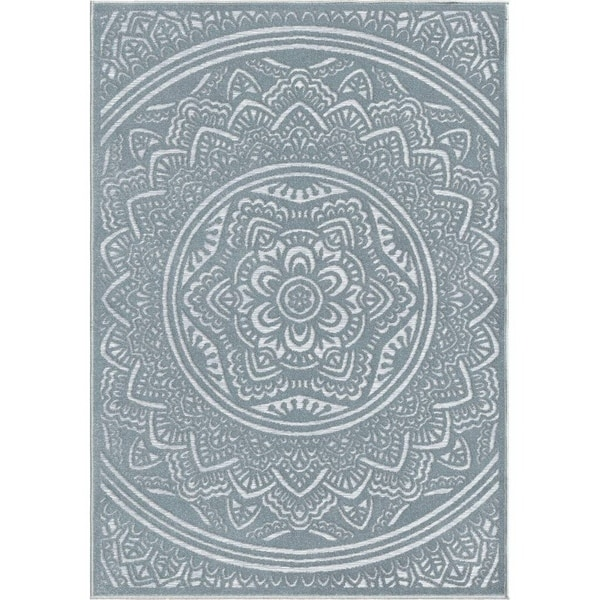 "Orian Rugs Farmhouse Indoor/Outdoor Mandala Harbor Blue Rug - 7'9"" x 10'10"""