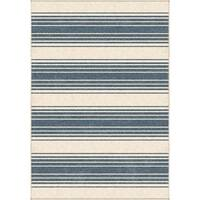 Orian Rugs Farmhouse  Indoor/Outdoor Simple Stripe Light Blue  Rug - 7'9 x 10'10