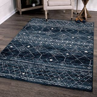 Orian Rugs Farmhouse Indoor Outdoor Gabbeh Field Faded Indigo Rug 7 9