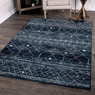 "Orian Rugs Farmhouse  Indoor/Outdoor Gabbeh Field Faded Indigo  Rug - 5'2"" x 7'6"""