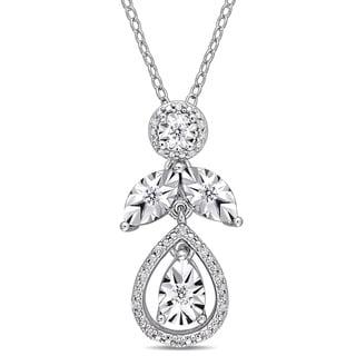 Miadora Sterling Silver 1 7ct TDW Diamond Leaf Drop Dangle Necklace