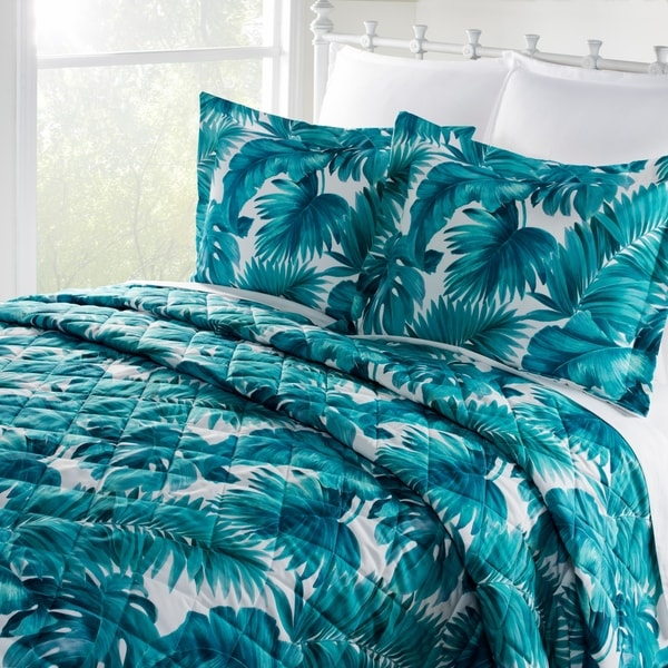 Shop Teal Palm Leaves Runaway Bay Quilt Only