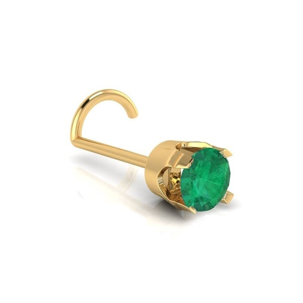 Shop 0 03ct 2mm Emerald Stud Nose Ring In 14k Yellow Gold