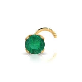 0.03ct 2mm Emerald Stud Nose Ring In 14K Yellow Gold