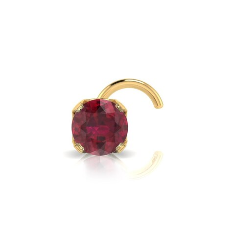 0.03ct 2mm Ruby Stud Nose Ring In 14K Yellow Gold