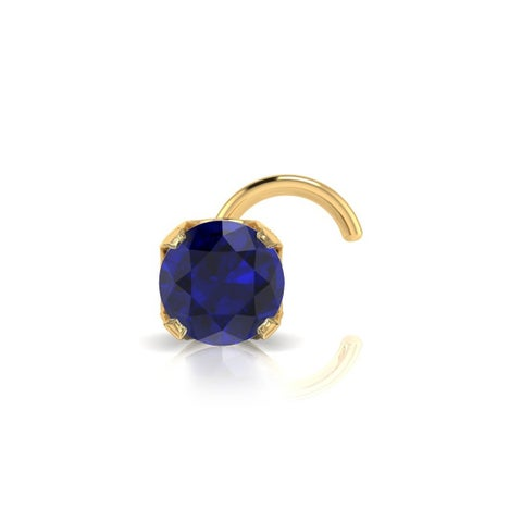 0.03ct 2mm Sapphire Stud Nose Ring In 14K Yellow Gold
