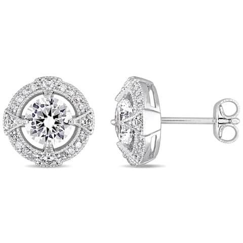 Miadora Sterling Silver Created White Sapphire 1/6ct TDW Diamond Halo Stud Earrings