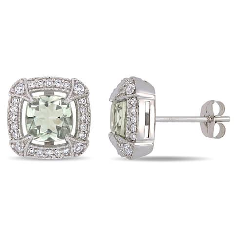 Miadora 10k White Gold Green Amethyst White Sapphire and 1/5ct TDW Diamond Stud Earrings