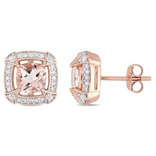 Link to Miadora 10k Rose Gold Morganite Created White Sapphire and 1/5ct TDW Diamond Halo Stud Earrings Similar Items in Earrings