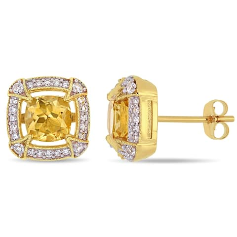 Miadora 10k Yellow Gold Citrine White Sapphire and 1/5ct TDW Diamond Stud Earrings