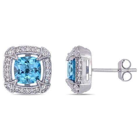 Miadora 10k White Gold Swiss-Blue Topaz White Sapphire and 1/5ct TDW Diamond Stud Earrings