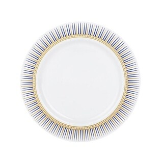 Kaya Collection - Disposable Backgammon White, Blue and Gold Round Dinner Plates - Fancy Disposable