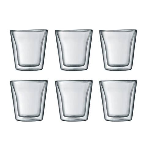 Bodum CANTEEN 6 pcs glass, double wall, small, 0.1 l, 3 oz, Clear