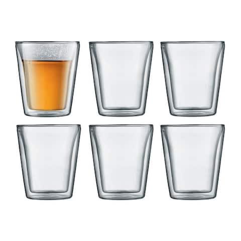 Bodum CANTEEN 6 pcs glass, double wall, medium, 0.2 l, 6 oz, Clear