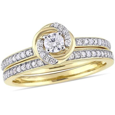 Miadora 10k Yellow Gold 1/2ct TDW Diamond Swirl Halo Bridal Ring Set