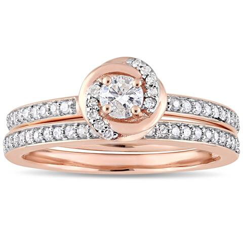 Miadora 10k Rose Gold 1/2ct TDW Diamond Swirl Halo Bridal Ring Set
