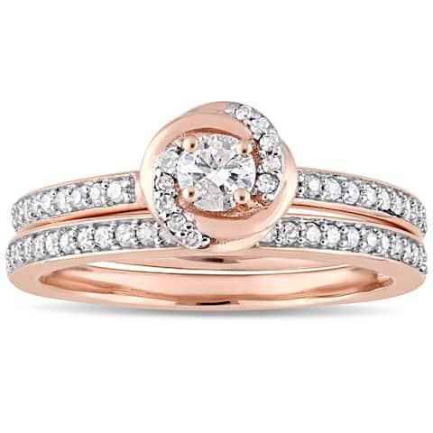 Miadora 10k Rose Gold 1/2ct TDW Diamond Swirl Halo Bridal Ring Set